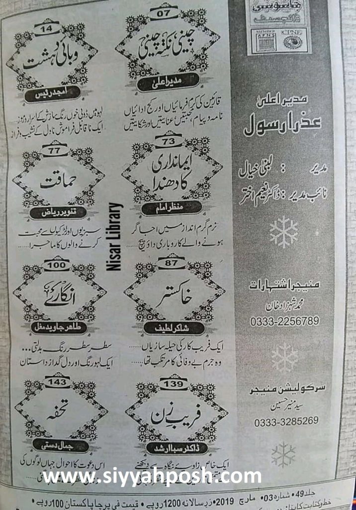 Jasoosi Digest March 2019 contents