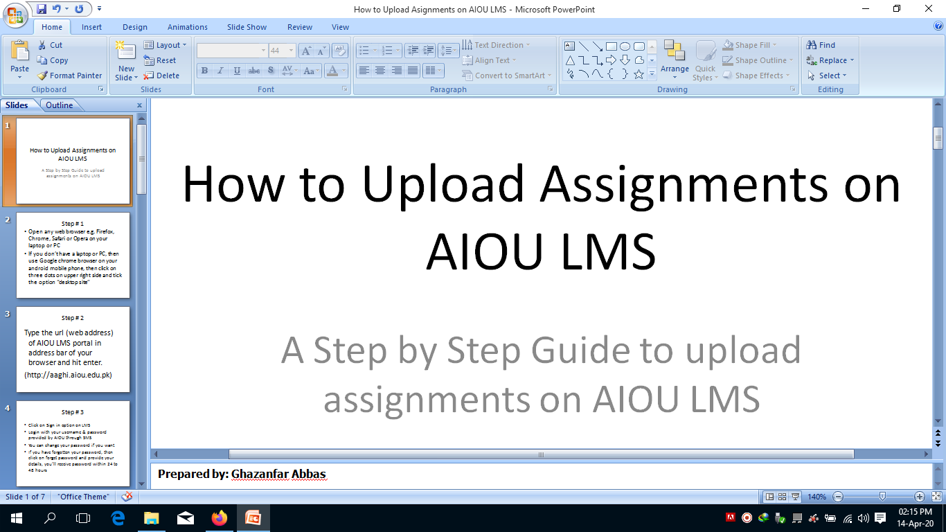 How to Upload Assignments on LMS AIOU